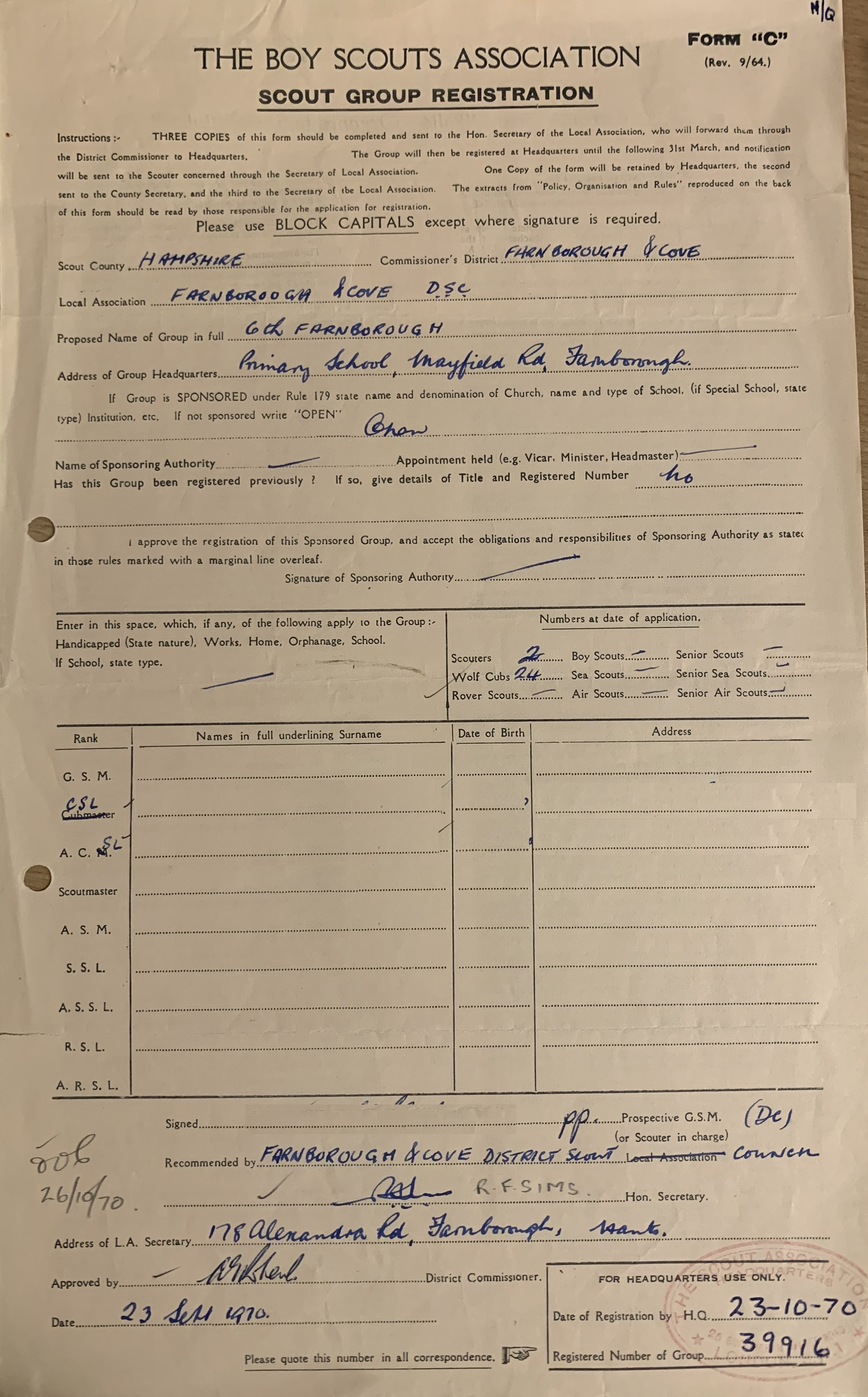 An image of our reconstitution form from 1970 that is stored in the Gilwell Park Scouting Archives