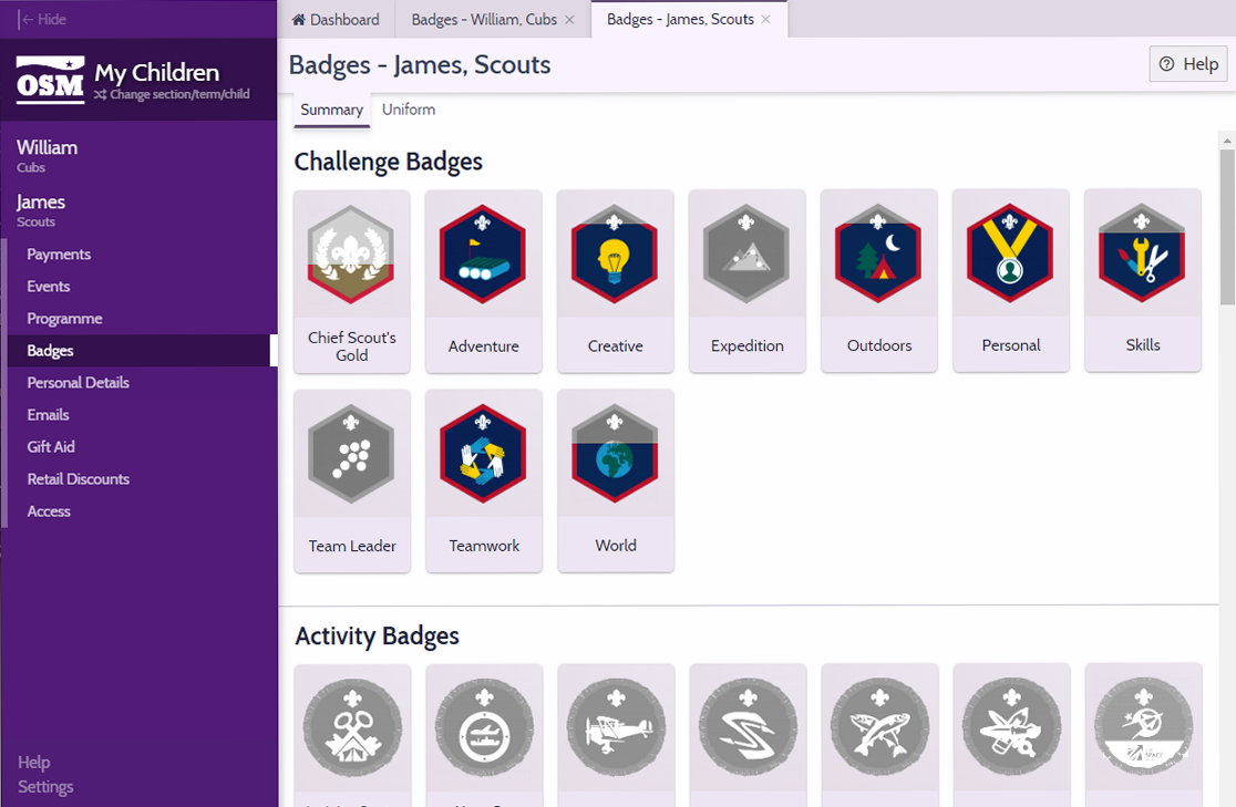 A screen shot of OSM showing a child's badge progress